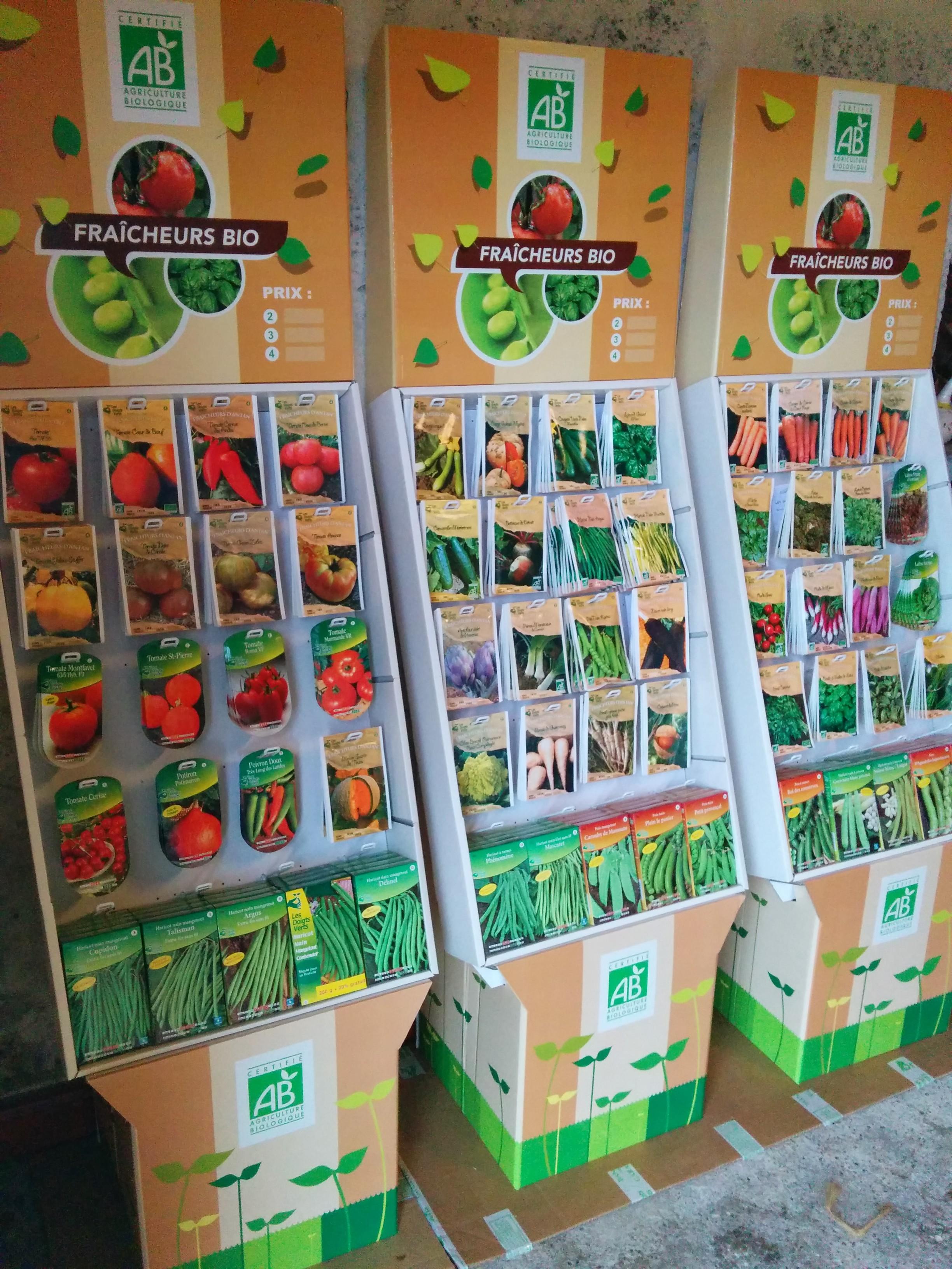 présentoir graines Les Doigts Verts PRESTAVERT